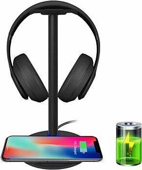 BOOC  2-in-1 Headset Holder & Wireless Charger Pad with LED Indicator, Compatible with iPhone 8, 8 Plus, X, Samsung S8, S8 Plus, S7 Edge