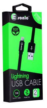 PREMIUM ECO LIGHTNING FLAT CABLE BLK for iPhone iPad