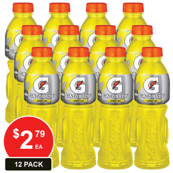 12 Pack, Gatorade 600ml Lemon Lime