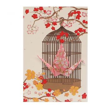 Small Card Crane in Cage Little Flowers Pink