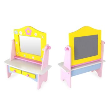 Kids Pretend Play Wooden Makeup Dressing Table Girl Vanity Set with Drawer and 8 Toys