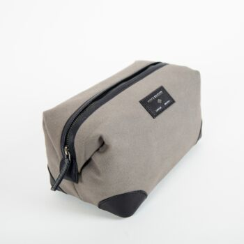 Leather Grey and Black Washbag
