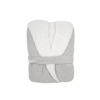 Reversible Sherpa Hooded Robe Silver/White