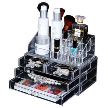 6 Tier Clear Acrylic Nail Polish Varnish Cosmetics Display Stand Rack Organiser