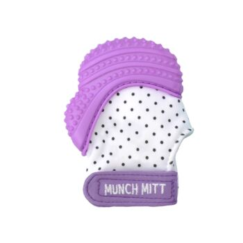 Munch Mitt Teething Mitten Purple Dots