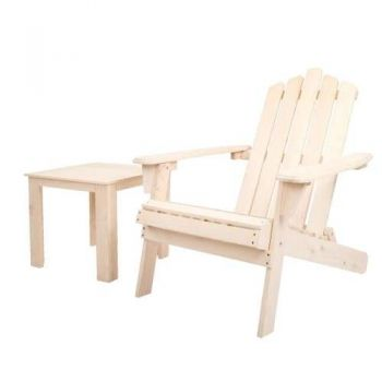 Gardeon Outdoor Beach Chairs Table Set Wooden Folding Adirondack Lounge