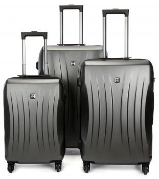 Swiss  Luggage Suitcase Lightweight with TSA locker 8 wheels 360 degree rolling HardCase 3 Pieces Set SN6300A&B&C-Grey