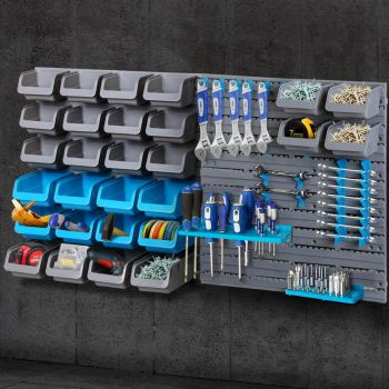 Giantz 44 Storage Bin Rack WallMounted Tool Parts Garage Shelving Organiser Box
