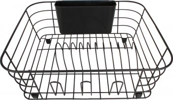 DISH RACK W CUTLERY HOLDER & RUBBER FEET MATTE BLK 36X33X13
