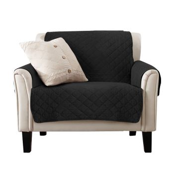 1 Seater Sofa Covers Quilted Couch Lounge Slipcovers in Black
