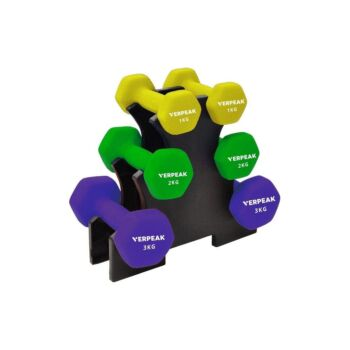 Verpeak Dumbbell Set Neoprene Weights , Anti-Slip with Cast Iron Core, for Home Gym Weightlifting 12 KG Set Rack Included