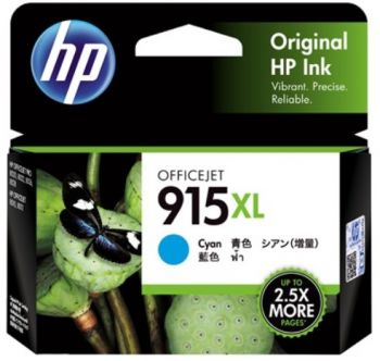 HP No. 915XL Cyan Ink - Estimated page yield 825 pages