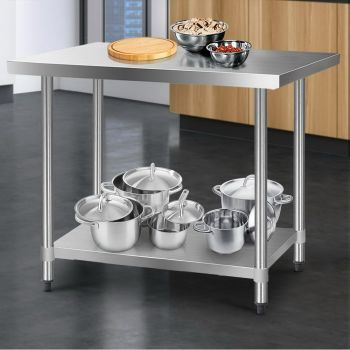 Cefito 1219x760mm Stainless Steel Kitchen Benches Work Bench Food Prep Table 430 Food Grade Stainless Steel