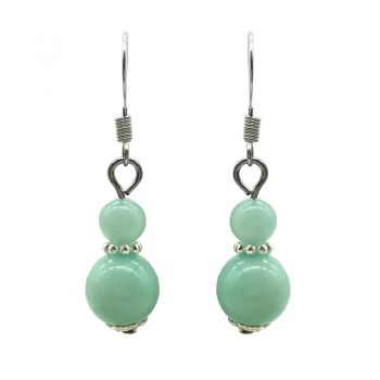 6-10mm Natural Round Malaysia 'Jade' Quartz Silver Plated Drop Earrings
