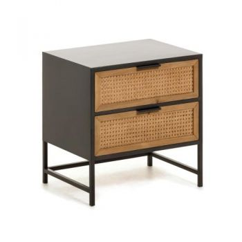 Tokyo Bed Side Table - Wicker Drawers - Black