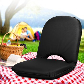 Portable Camping Beach Chair Folding Floor Recliner Outdoor Lounge Sofa Black