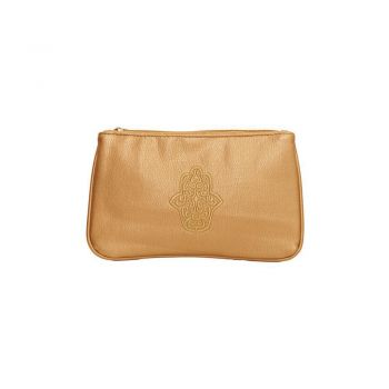 Gold Leather Purse Hamsa Design
