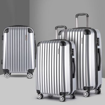 Wanderlite 3pc Luggage Sets Suitcase Set TSA Scale Storage Organiser Silver