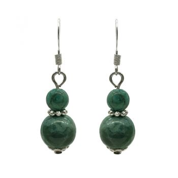 6-10mm Natural Round African Jasper Turquoise Silver Plated Drop Earrings