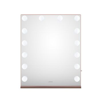 Glammar Hollywood Vanity Mirror With Bulbs Vertical Large Rose Gold
