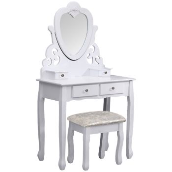 Levede Mirror Dressing Table Jewellery Makeup Organizer 4 Drawer Set