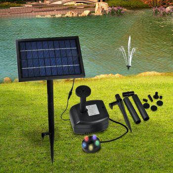 Solar Powered Fountain Outdoor Fountains Submersible Water Pump Pond Multicolor