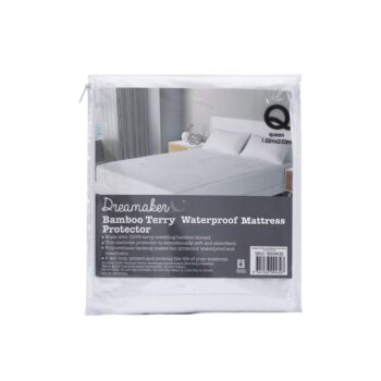 Dreamaker Bamboo Terry Waterproof Mattress Protector - Single Bed