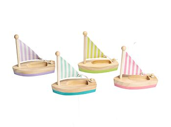 PRICE FOR ONE CALM & BREEZY WOODEN SMALL SAILBOAT RANDOMLY PICK