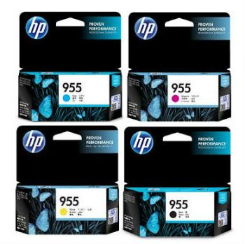 HP No. 955 Four Pack One of each Black Cyan Magenta Yellow Estimated Page Yield Black 1000 Color 700 - L0S60AA L0S51AA L0S54AA L0S57AA