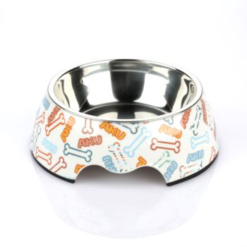 Charlie'S Pet Melamine Printed Pet Feeders With Stainless Steel Bowl  Bone Small