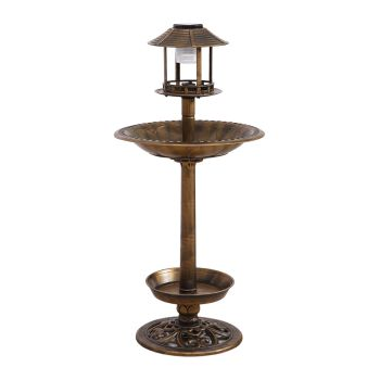 PaWz Ornamental Solar Light Bird Bath Feeding  Food Station