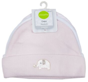 3 Pack Knitted Caps Pink/White