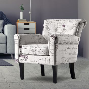 Levede Luxury Upholstered Armchair Dining Chair Single Accent Padded Fabric Sofa