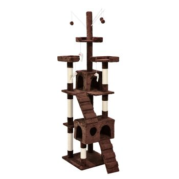 PaWz 2.1M Cat Scratching Post Tree Gym House Condo in Brown