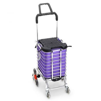 Portable Foldable Stainless Steel Shopping Cart for Groceries