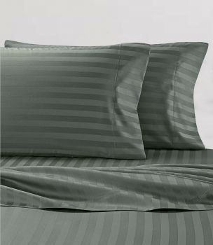 Double Bed Stripe Soft Microfibre Sheet Set in Charcoal