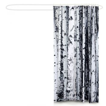 2 Pcs 180x200cm Birch Print Waterproof Bathroom Shower Crutain with 12 Hooks