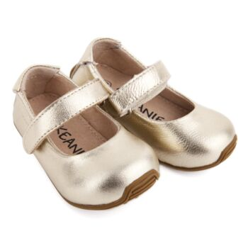 SKEANIE Toddler and Kids Leather Mary-Jane Shoes in Gold