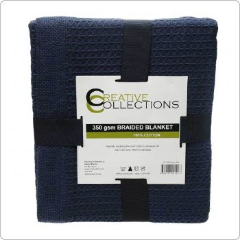 Pure Cotton Waffle Blanket Navy Full 230x230cm Navy