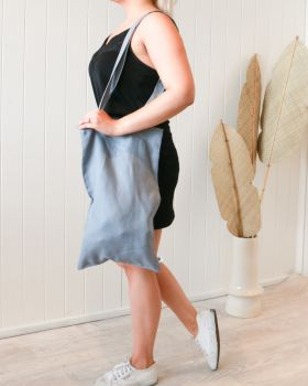Linen Tote Bag - Small - Dusty Blue -30x50