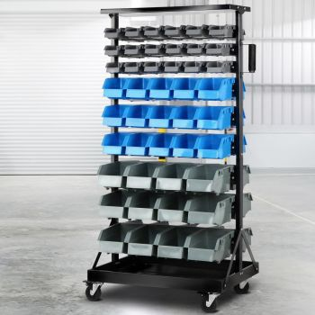 Giantz 90 Bins Storage Rack Warehouse Work Garage Tools Parts Shelving Wheels