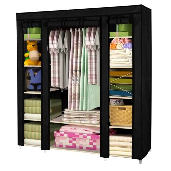 Large Portable Clothes Closet Wardrobe Storage Organiser with Shelves in Black