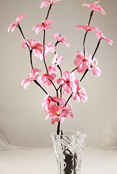 5 Sets of 50cm H 20 LED Pink Frangipani Tree Branch Stem Fairy Light Wedding Event Party Function Table Vase Centrepiece Decoration Girl Bedroom