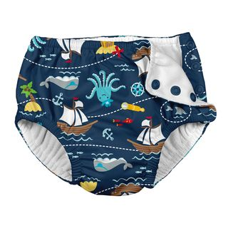 Snap Reusable Absorbent Swimsuit Diaper-Navy Pirate Ship