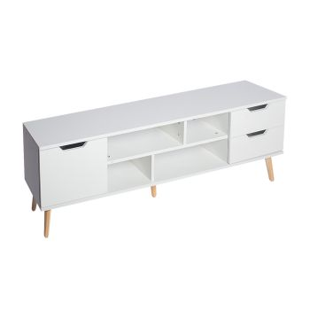 Levede TV Cabinet Entertainment Storage Unit Wooden White Shelf Stand for Storage 140cms
