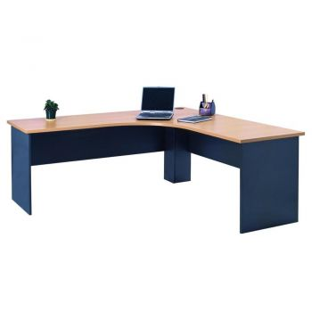 Mantone Corner Workstation L-Shape Executive Office Work Desk - 150cm - Select Beech/Ironstone