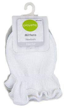 3 Pack Essential Mittens Grey/White
