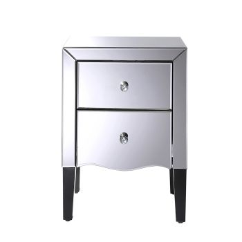 Levede Grey Mirrored Bedside Tables Furniture Side Table Nightstand 2 Drawers