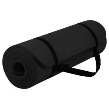 NBR Yoga Mat Thick Nonslip Pad Fitness Wide Exercise Pilate Gym Strap Bag Black (15MM)