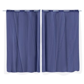 2x Blockout Curtains Panels 3 Layers Room Darkening 140x213cm in Navy